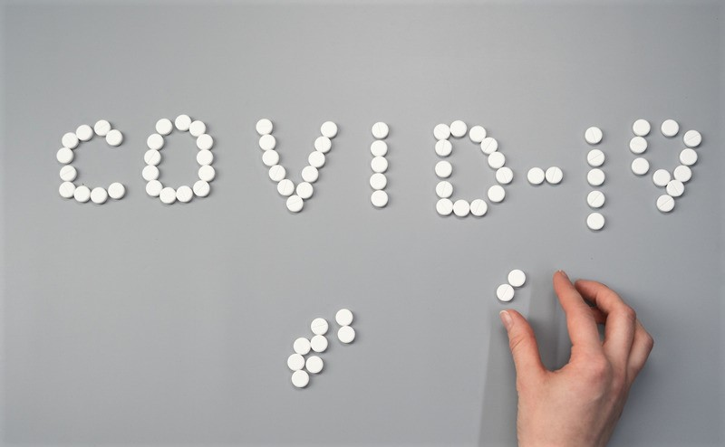 Pills displaying Covid-19